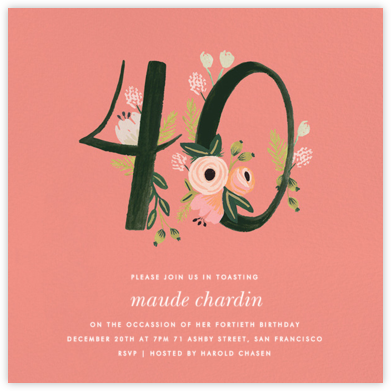 Botanic Numerals (Forty) - Pink - Rifle Paper Co. -