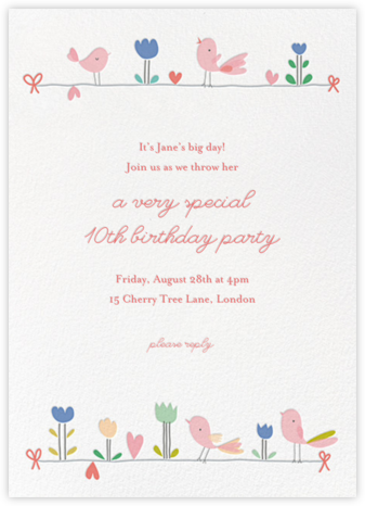 Birdie and Friends (Invitation) - Little Cube - Online Kids' Birthday Invitations