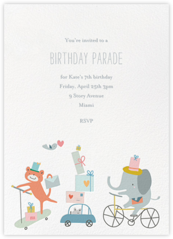 Presents Parade - Little Cube - Online Kids' Birthday Invitations