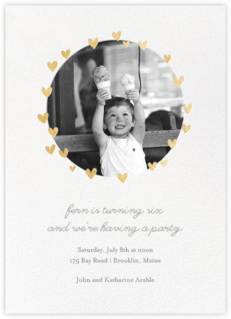 Little Heart Halo (Invitation) - Gold - Little Cube - First Birthday Invitations
