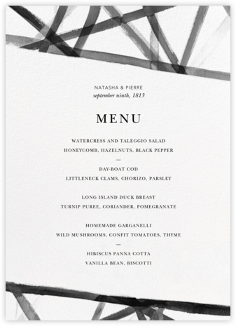 Channels (Menu) - White/Black - Kelly Wearstler - Wedding menus and programs - available in paper