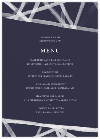 Channels (Menu) - Navy - Kelly Wearstler - Wedding menus and programs - available in paper