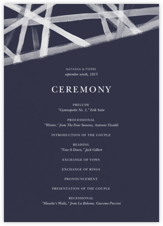 Channels (Program) - Navy - Kelly Wearstler - Wedding menus and programs - available in paper