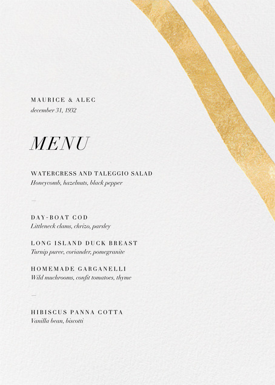 Cherish (Menu) - Gold - Kelly Wearstler - Kelly Wearstler wedding