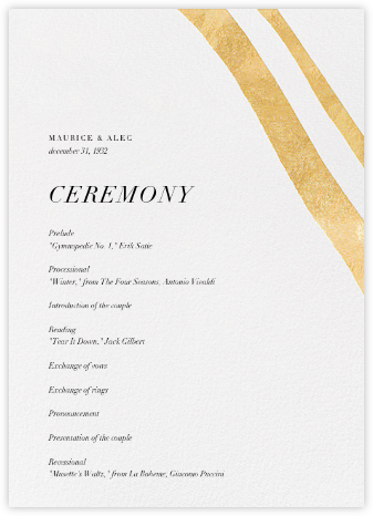 Cherish (Program) - Gold - Kelly Wearstler - Kelly Wearstler wedding