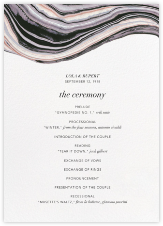 Marbleized (Program) - Kelly Wearstler - Wedding menus and programs - available in paper