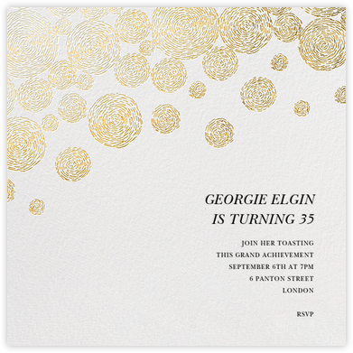 Radiant Swirls (Square) - Gold - Oscar de la Renta - Adult Birthday Invitations