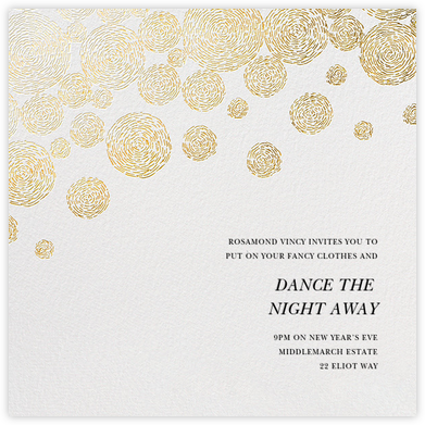 Radiant Swirls (Square) - Oscar de la Renta - New Year's Eve Invitations