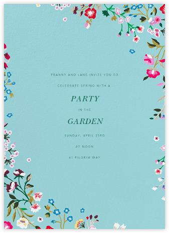 Embroidered Floral - Aquamarine - Oscar de la Renta - Spring Party Invitations