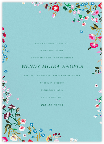 Embroidered Floral - Aquamarine - Oscar de la Renta - Christening Invitations