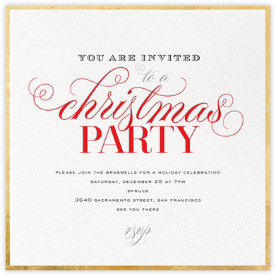 Christmas Flourish - Gold - bluepoolroad - Invitations