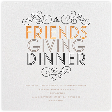 Friendsgiving Dinner - bluepoolroad - Thanksgiving invitations