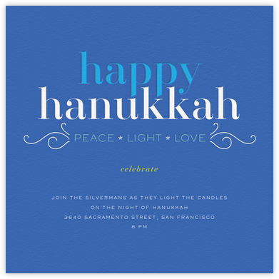 Hanukkah Happiness (Invitation) - bluepoolroad - bluepoolroad invitations and cards