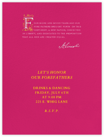 Lincoln Quote - Hot Pink - Paperless Post - Election Night invitations