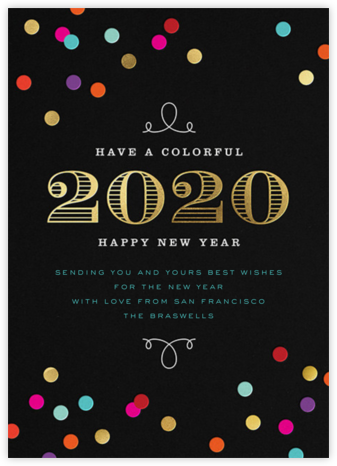 New Year's Confetti (Greeting) - bluepoolroad - bluepoolroad invitations and cards
