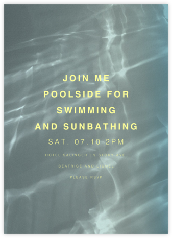 Pasadena, 1pm - Blue - Paperless Post - Pool Party Invitations