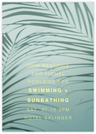 Havana, 7pm - Green - Paperless Post - Pool Party Invitations