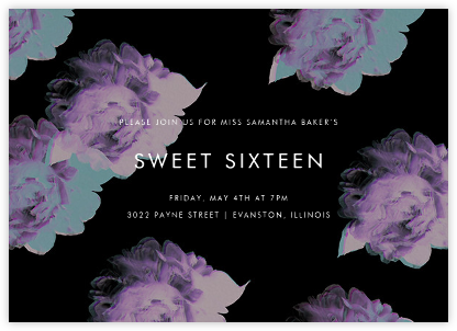 Garden Glitch - Black - Paperless Post - Sweet 16 invitations