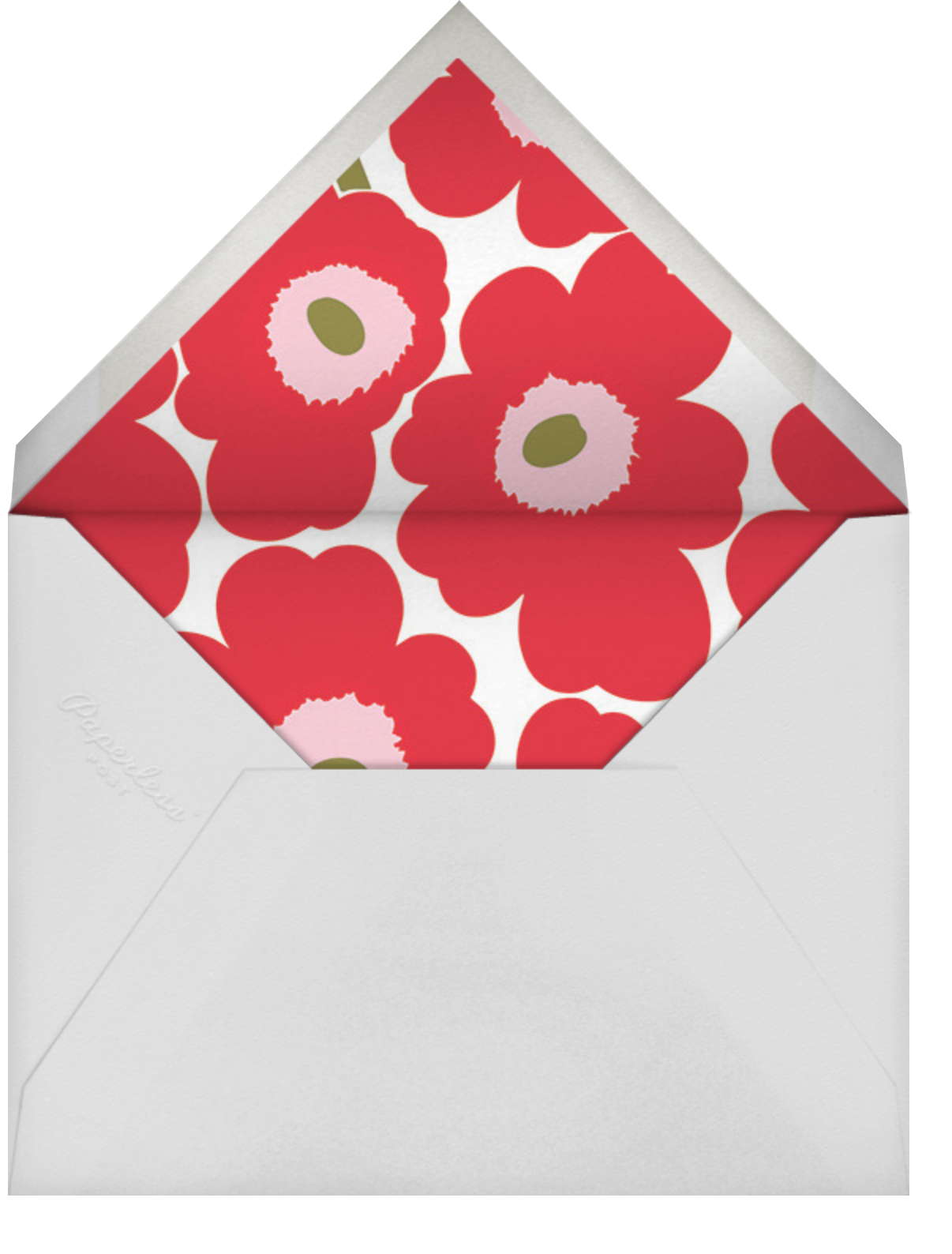 Unikko (Square) - Red/Green - Marimekko - Christmas party - envelope back