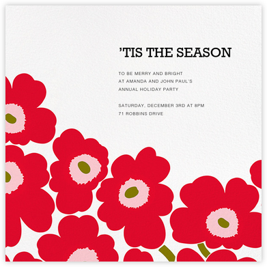 Unikko (Square) - Red/Green - Marimekko - Christmas Party Invitations