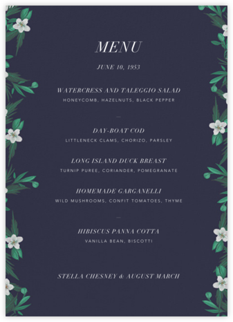 Snowrose Hedge (Menu) - Navy - Paperless Post - Wedding menus and programs - available in paper