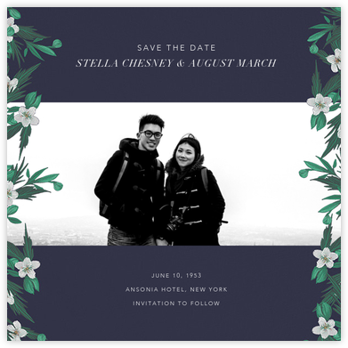 Snowrose Hedge (Photo Save the Date) - Navy - Paperless Post - Save the dates
