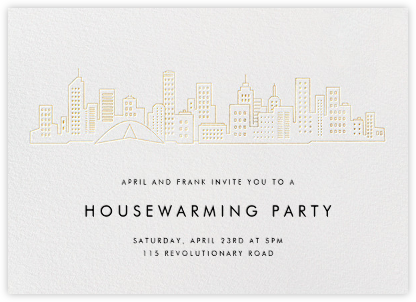 Melbourne Skyline View - White/Gold - Paperless Post - Housewarming party invitations