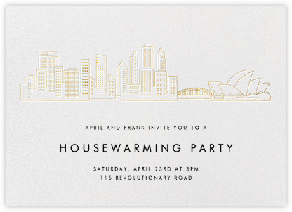 Sydney Skyline View - White/Gold - Paperless Post - Housewarming party invitations
