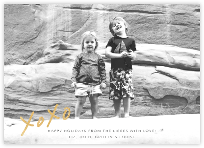 With Hugs and Kisses (Photo) - Gold - Linda and Harriett - Holiday Cards