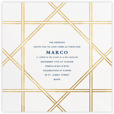 Southampton - White/Gold - Jonathan Adler - Bat and Bar Mitzvah Invitations