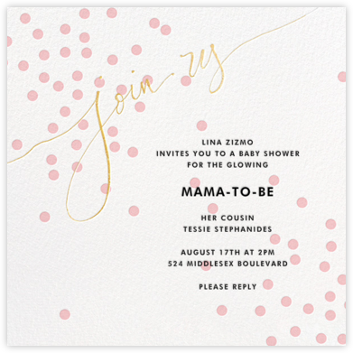 Join Us (Dots) - Pink/Gold - Linda and Harriett - Baby Shower Invitations