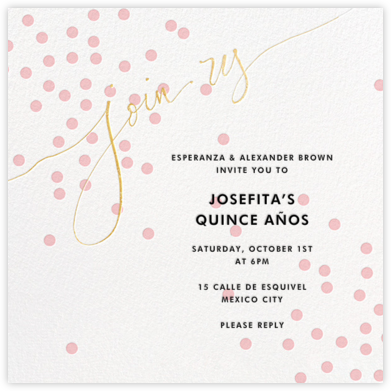 Join Us (Dots) - Pink/Gold - Linda and Harriett - Sweet 16 invitations