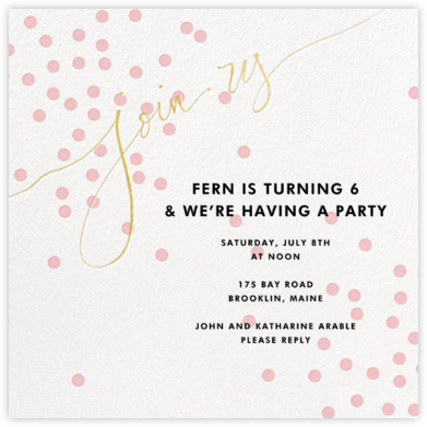 Join Us (Dots) - Pink/Gold - Linda and Harriett - Online Kids' Birthday Invitations