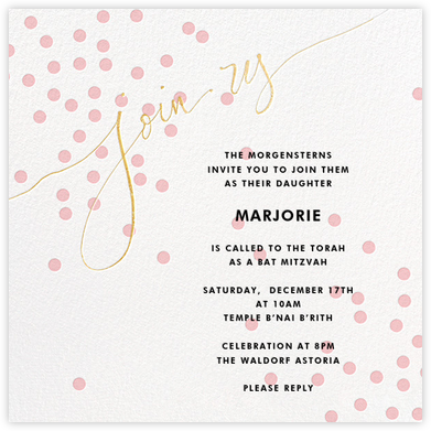 Join Us (Dots) - Pink/Gold - Linda and Harriett - Bar and Bat Mitzvah Invitations