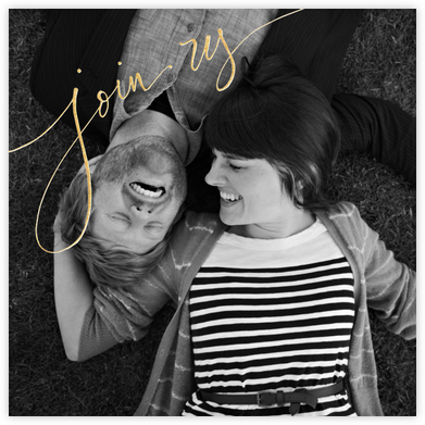 Join Us (Photo) - Gold - Linda and Harriett - Engagement party invitations