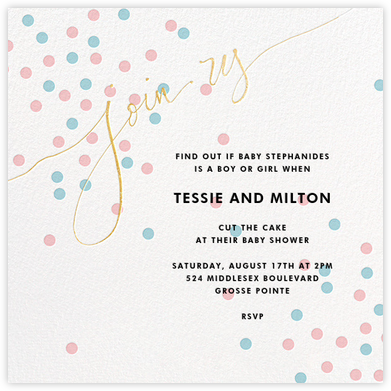 Join Us (Dots) - Pink/Blue/Gold - Linda and Harriett - Baby shower invitations