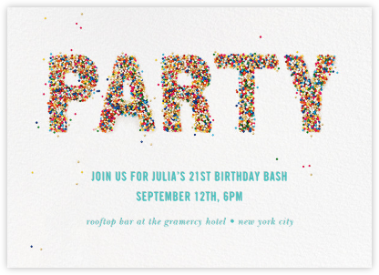 Party Sprinkles - kate spade new york - Adult Birthday Invitations