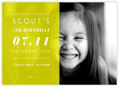 Horizontal Split - Yellow - Paperless Post - Kids' Birthday Invitations