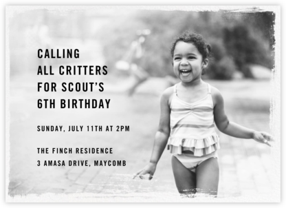 Smudge Border (Horizontal) - Paperless Post - Kids' birthday invitations