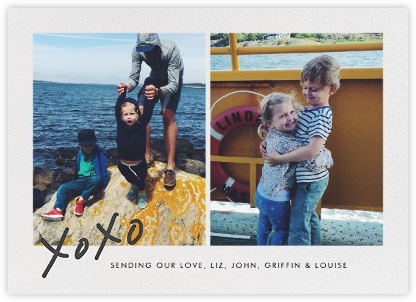 With Hugs and Kisses (Split-Screen) - Slate - Linda and Harriett - Holiday Cards
