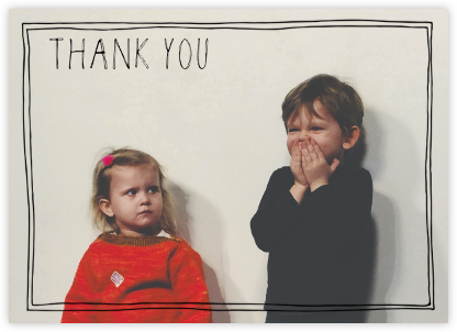 Double Hand Drawn Border - Black - Linda and Harriett - Kids' thank you notes