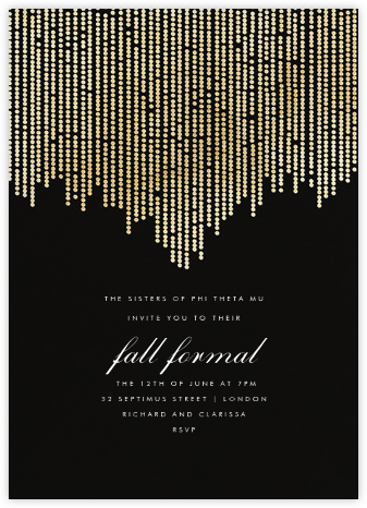 Josephine Baker - Black/Gold - Paperless Post - Sorority Event Invitations