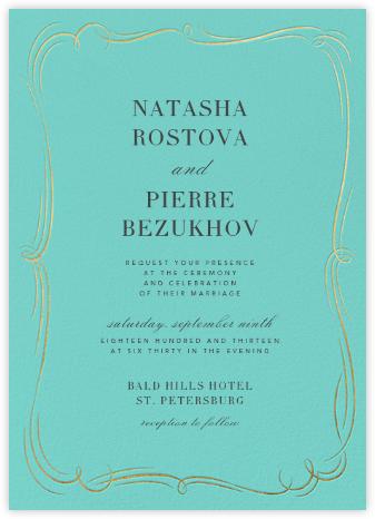 Plume (Tall) - Blue/Gold - Paperless Post - Wedding Invitations
