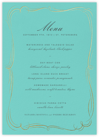 Plume (Menu) - Blue/Gold - Paperless Post - Wedding menus and programs - available in paper