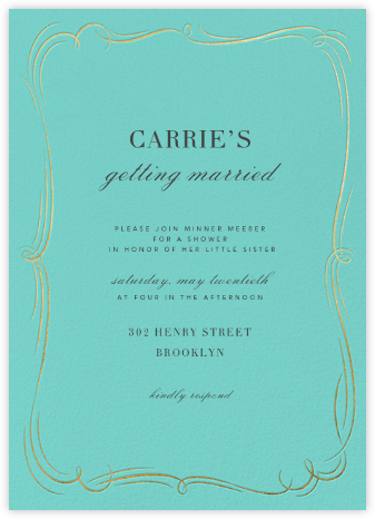 Plume (Tall) - Blue/Gold - Paperless Post - Bridal shower invitations