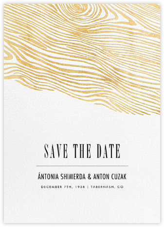 Burlwood II (Tall Save the Date) - Gold - Paperless Post - Save the dates