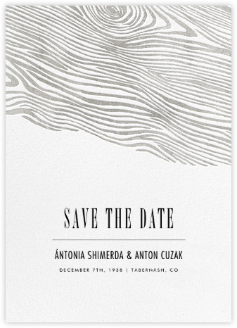 Burlwood II (Tall Save the Date) - Silver - Paperless Post - Save the dates