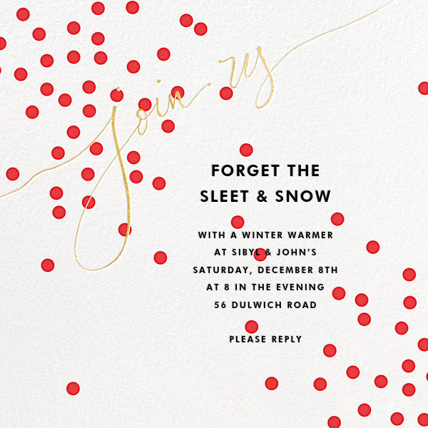 Join Us (Dots) - Red/Gold - Linda and Harriett - Company holiday party