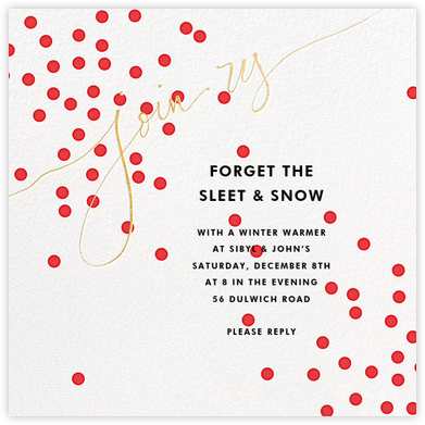Join Us (Dots) - Red/Gold - Linda and Harriett - Holiday party invitations