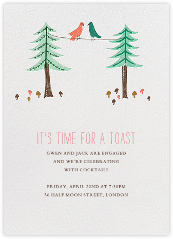 Love Birds On A Wire - Mr. Boddington's Studio - Engagement party invitations